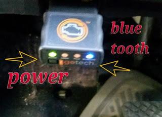 GoTech Bluetooth OBDII Diagnostic Tool in place in car