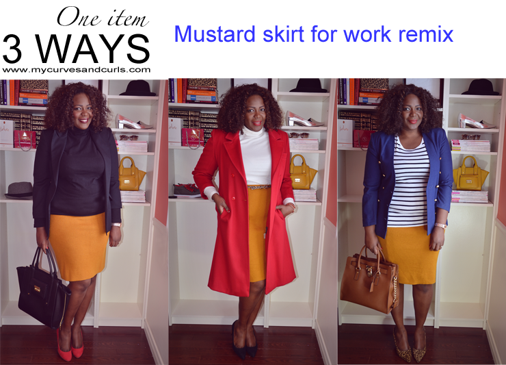 MUSTARD SKIRT 3 WAYS how to wear a mustard skirt to work; plus size style and fashion for women.