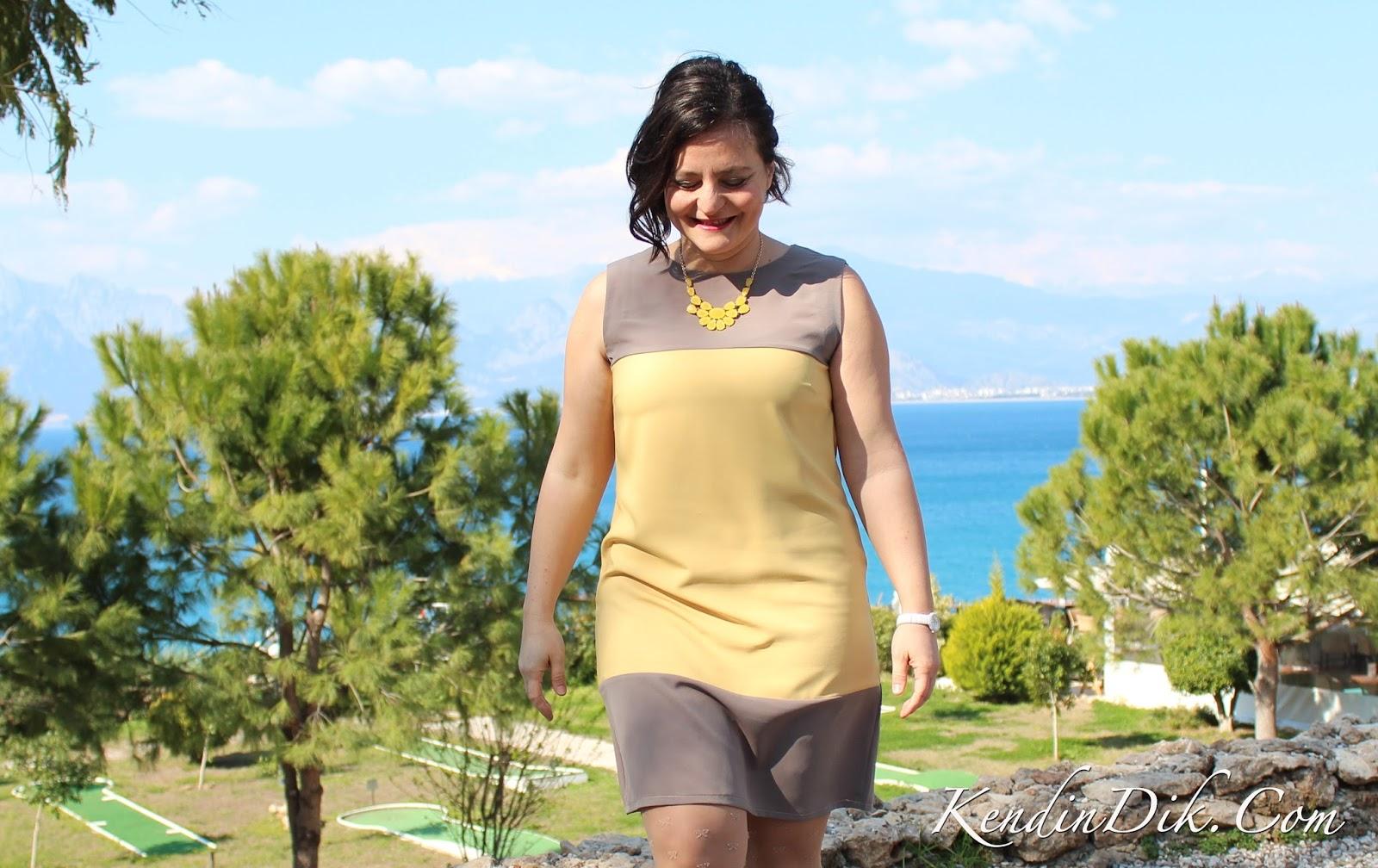 color block dress elbise sarı