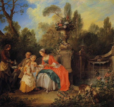 A Lady and Gentleman Taking Coffee with Children in a Garden by Nicholas Lancret, 1742
