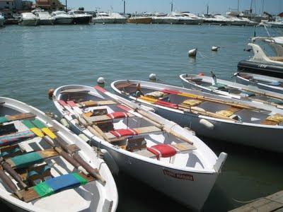 colored fishing boats at Castiglione della Pescaia's harbor