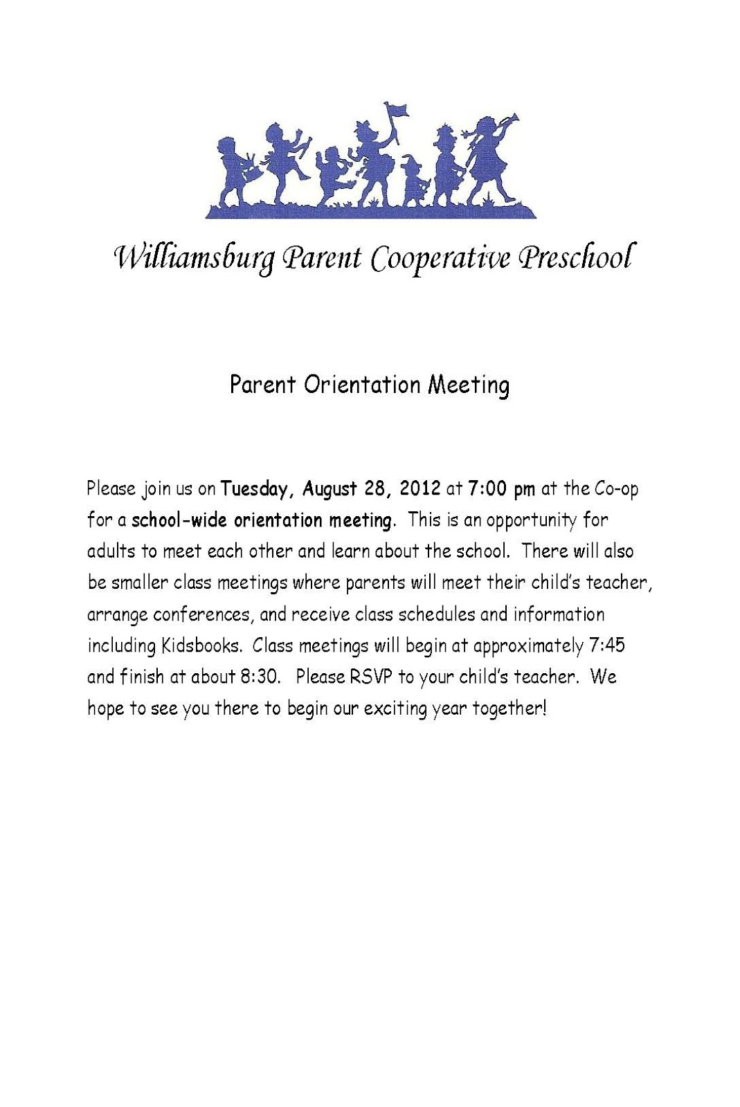 Upcoming Events Parent Orientation Meeting August 28 2012