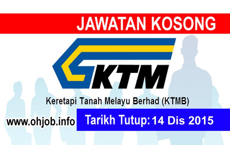 Jawatan Kerja Kosong Keretapi Tanah Melayu Berhad (KTMB) logo www.ohjob.info disember 2015