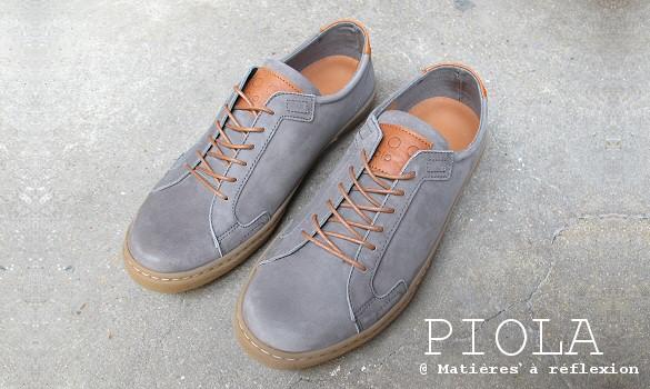 Sneakers homme nubuck gris Piola