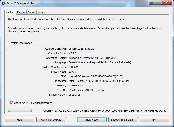 MEMBUAT DXDIAG PADA VB 6.0