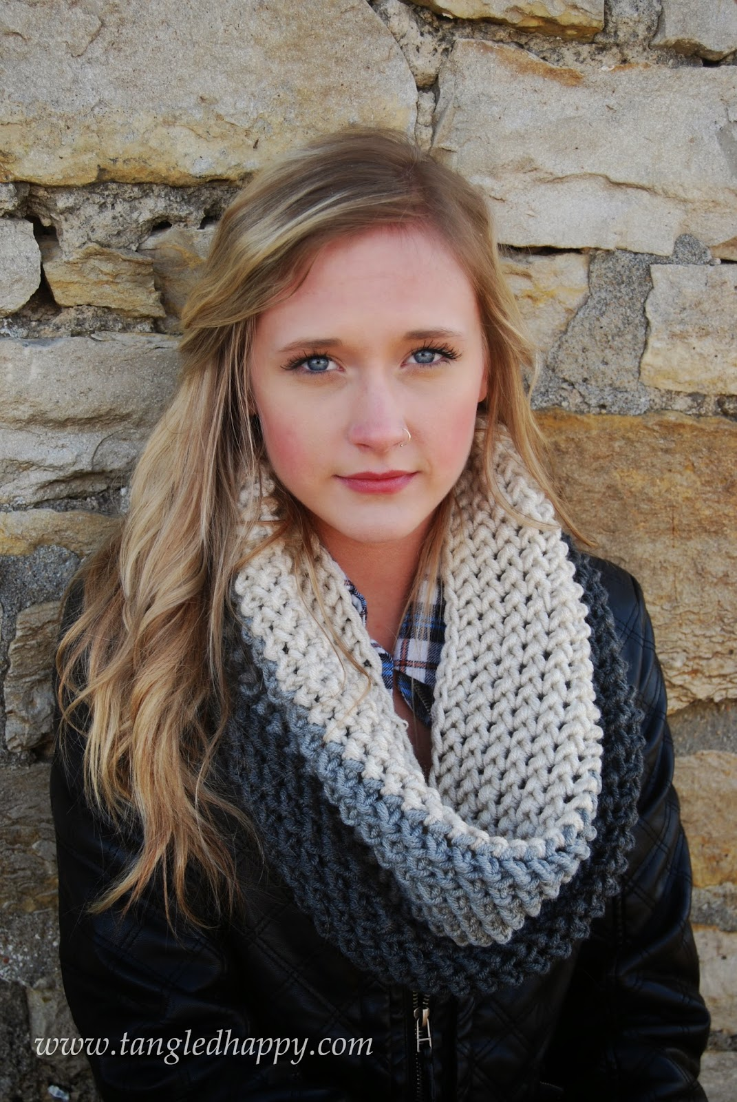 free crochet pattern chunky color block cowl