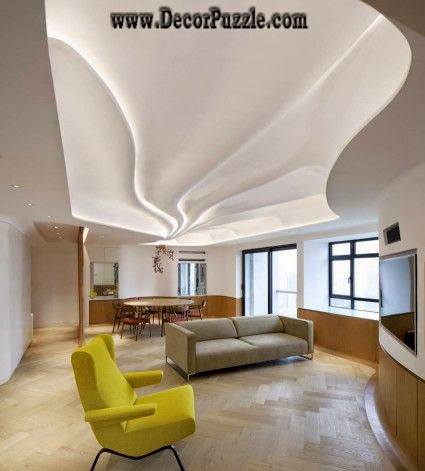 Wavy Ceiling Design With Led Lights, Plaster Of Paris Designs 2018