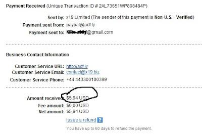Payout (adf.ly) Pembayaran pertama dari ADF.LY gambar