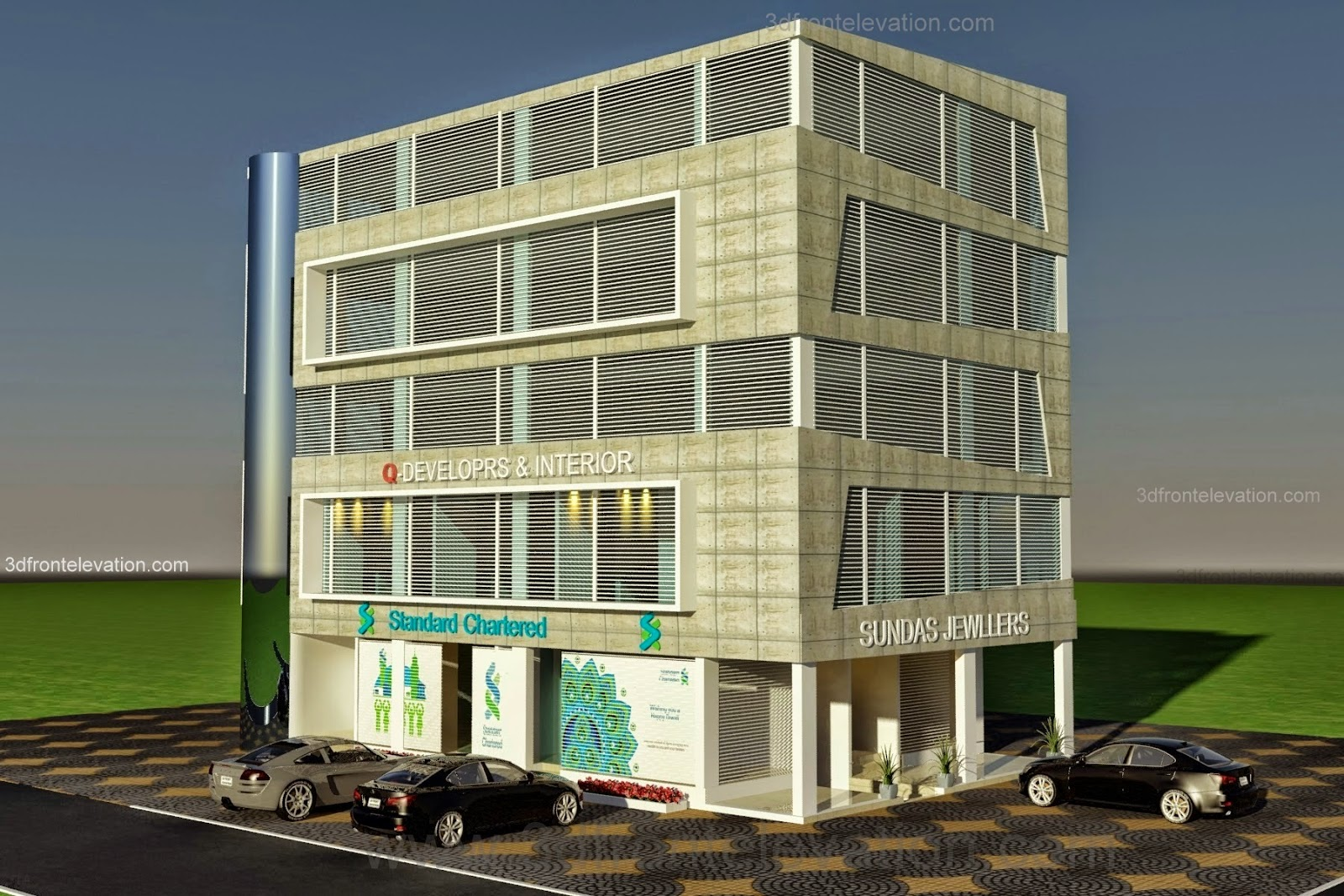 Front Elevation Of Small Plaza : D front elevation corner commercial plaza offices
