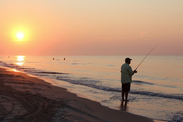 Sunrise and Surf Fishing at Matagorda Beach