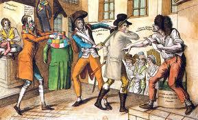 Las refriegas entre Muscadin y sans-culottes fueron constantes. Los primeros solían llevar la peor parte.