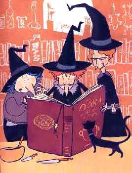 Dibujo de brujas buscando un hechizo en su libro