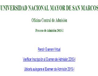 Ingresantes examen UNMSM 2015-1 Universidad Mayor de San Marcos, sábado 20 de Setiembre