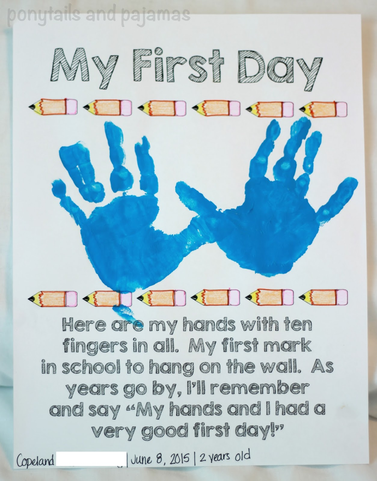 first day of school crafts for preschool toddler school day craft ponytails and pajamas 105