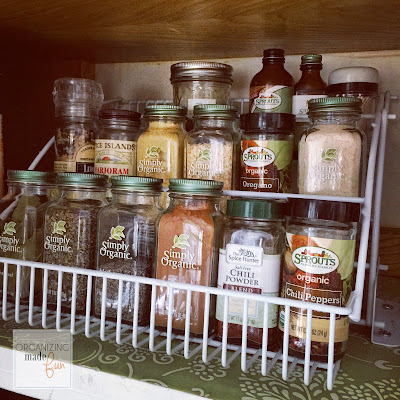 Pull down spice rack :: OrganizingMadeFun.com