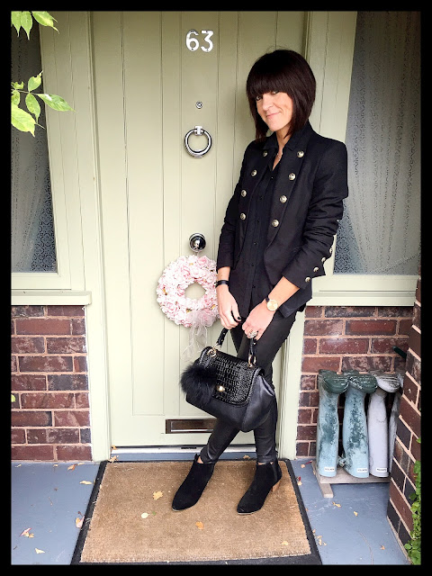 My Midlife Fashion, Military Jacket, Zara Silk Shirt, Mango Ankle Boots, Massimo Dutti Leather Trousers