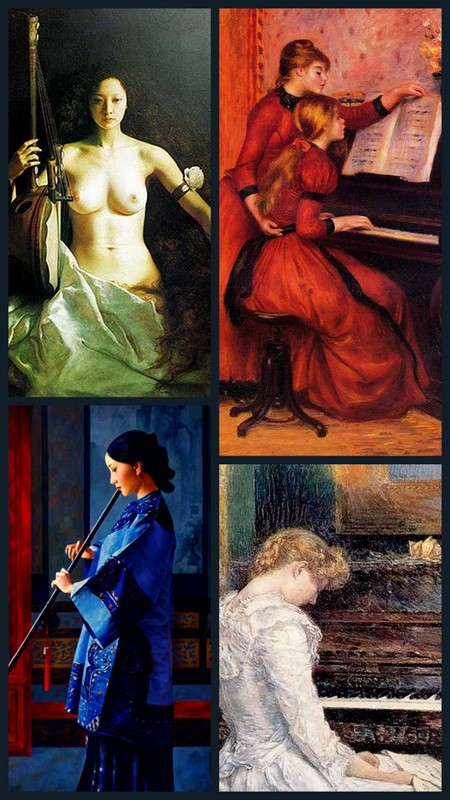 The Music Lesson, paintings