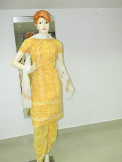 Lucknowi Chikan Yellow Cotton Dress Material
