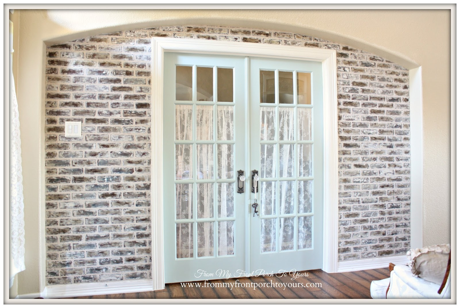 AfterFrench Farmhouse-DIY Faux Brick Wall- From My Front Porch To Yours