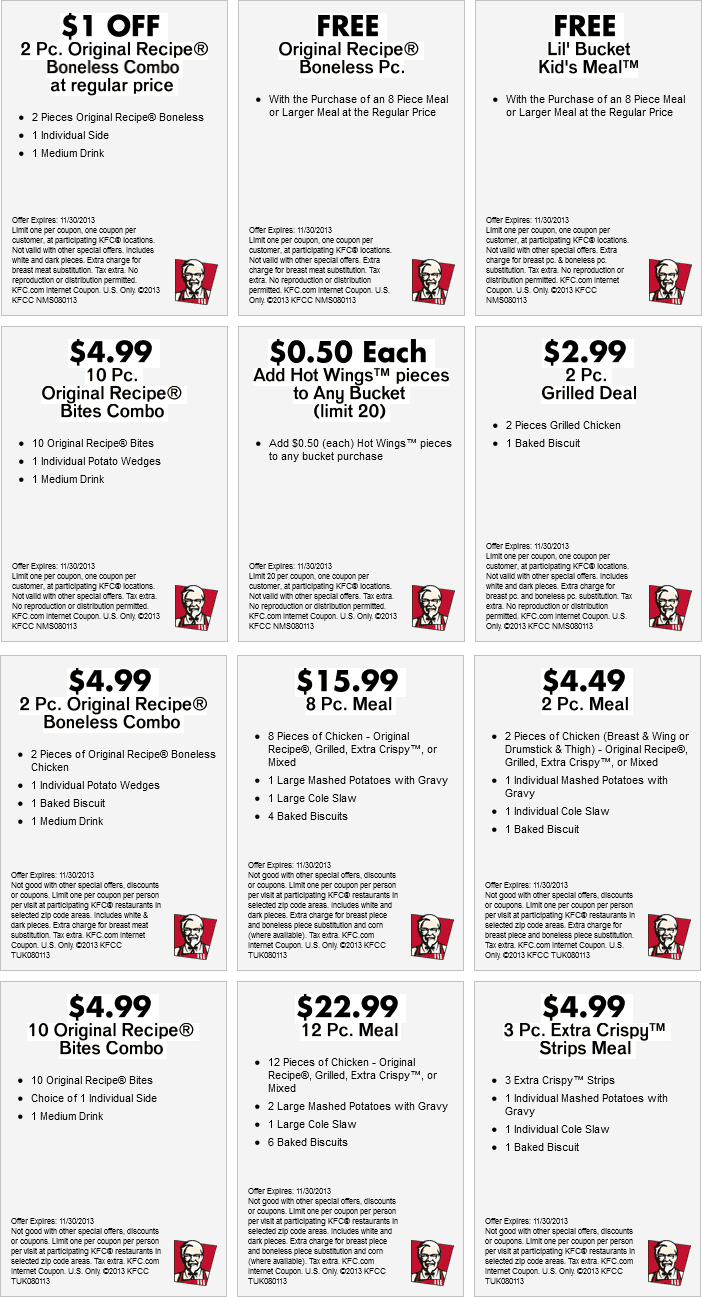 kfc coupons january 2015 kfc coupon $ 4 99 3 piece meal this is new ...
