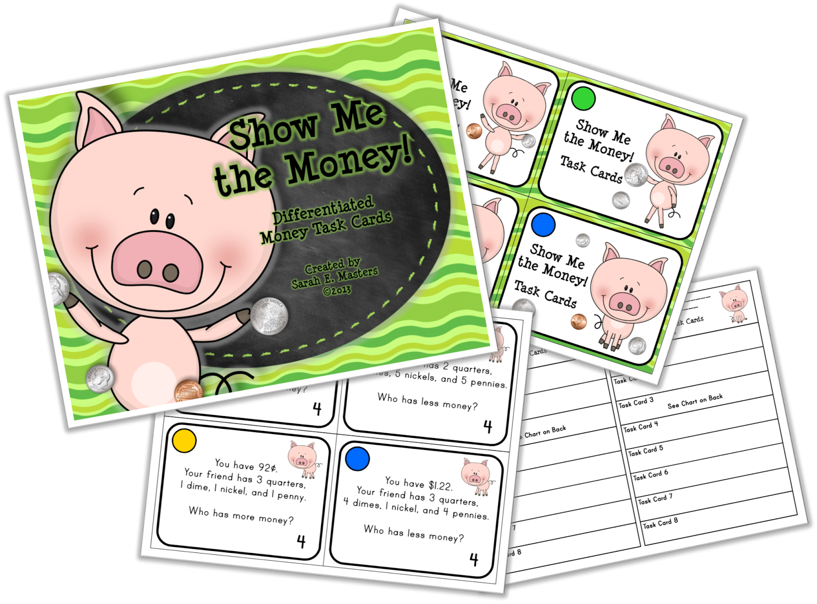 http://www.teacherspayteachers.com/Product/Money-Task-Cards-Show-Me-the-Money-Differentiated-Math-Center-Cards-522227