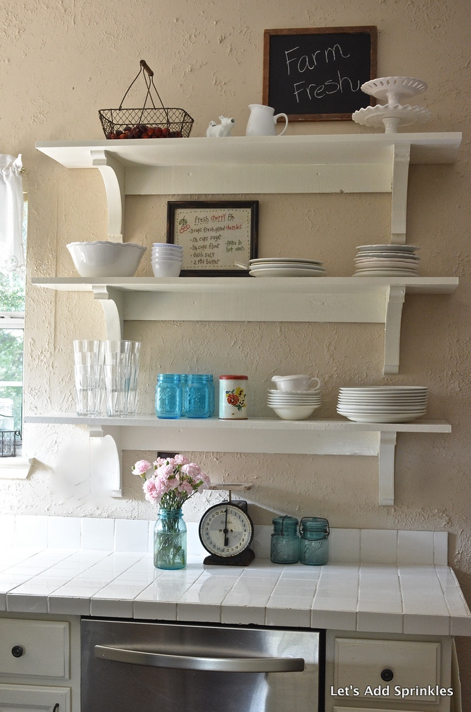 Let s Add Sprinkles Open Shelving Instead of Upper Cabinets