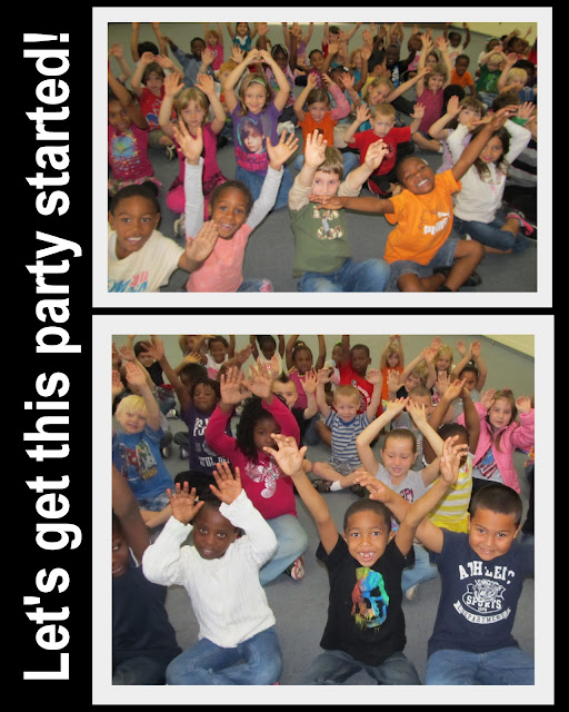 photo of: Kindergarten students during Debbie Clement Author-Illustrator School Visit