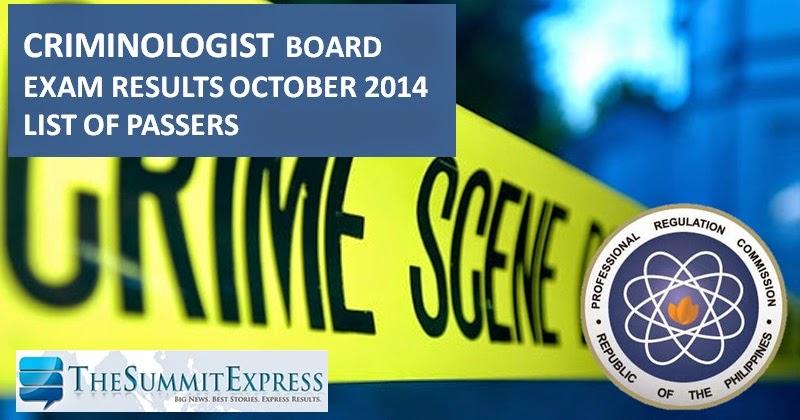 List of Passers: Criminologist Board Exam Results October 2014