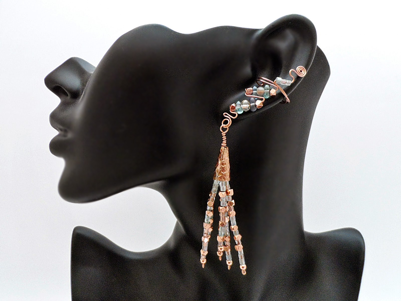 Dramatic Drop Ear Cuffs featuring Copper and Crystals