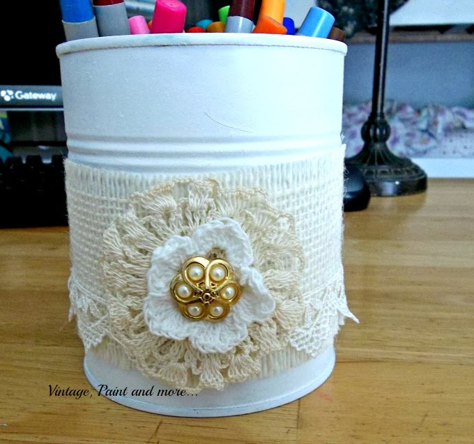 Tin Can Therapy - vintage decorated tin can with lace and burlap