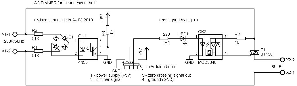 Dimming multiple lights using zero cross signal