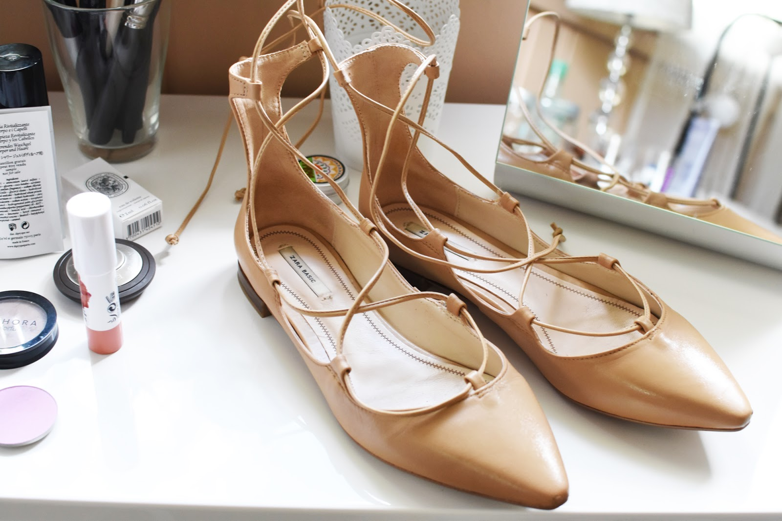 Zara nude tie up leather ballerina flats, Aquazzura Christy dupes.