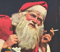 Propaganda dos Cigarros Lucky Strike em 1935 com um Papai Noel fumante.