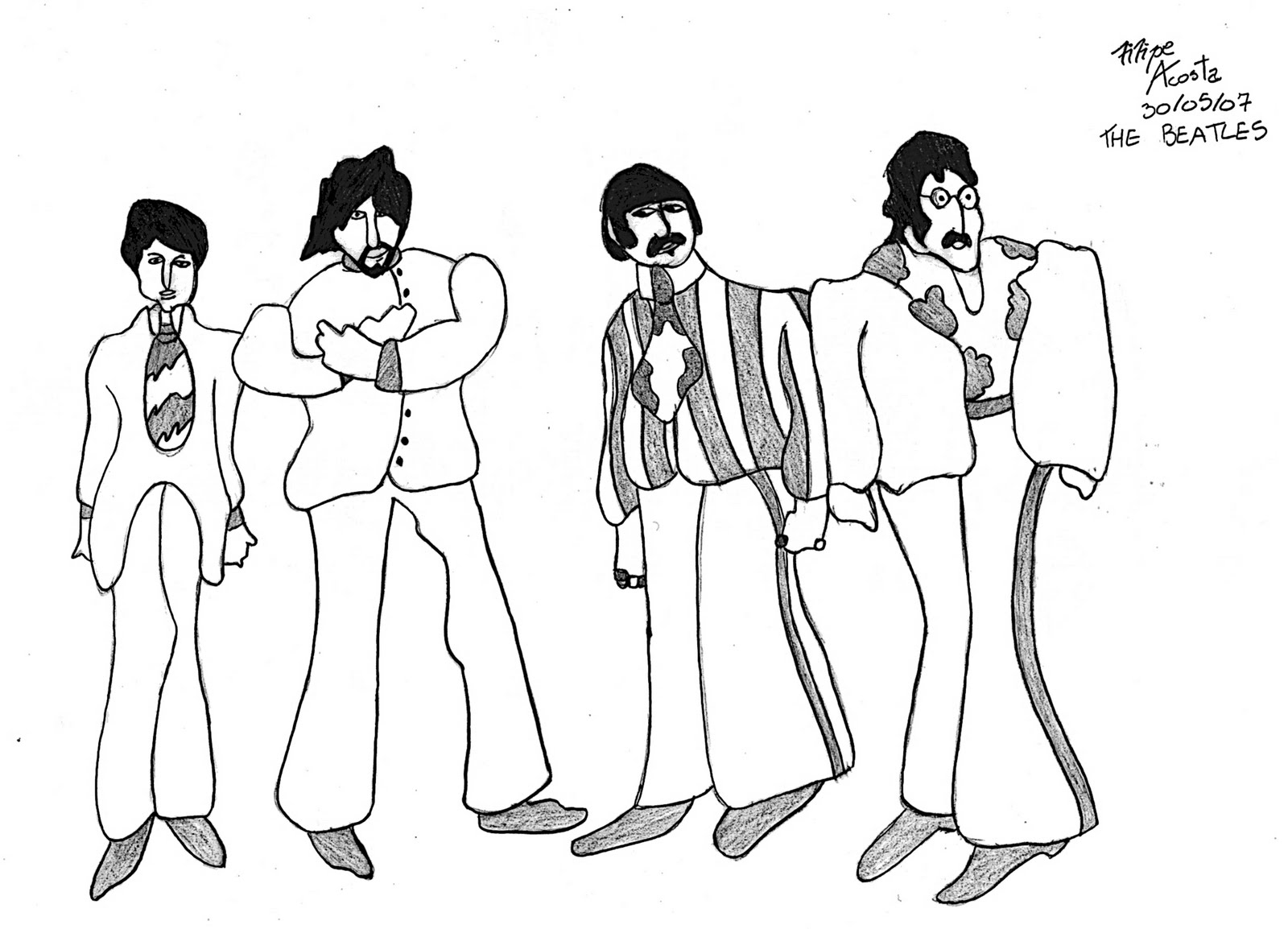 Yellow submarine coloring pages for Beatles coloring book pages