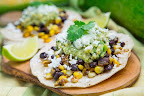 Caramelized Corn and Black Bean Tacos with Roast Zucchini Salsa and Roasted Poblano Crema