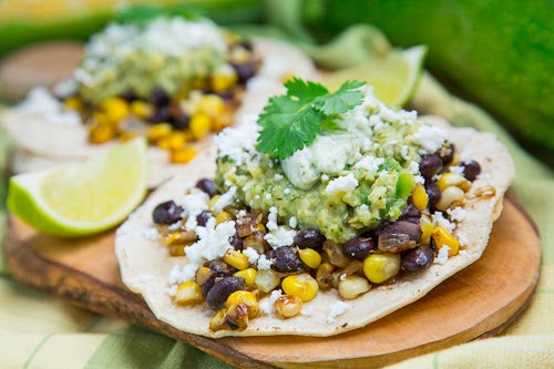 Caramelized Corn and Black Bean Tacos with Roast Zucchini Salsa and ...