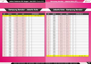 Jadwal KRL per 1 April 2013 Jakarta Kota-Kampung Bandan & Kampung Bandan-Jakarta Kota
