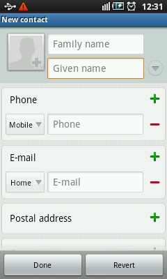 Android Contacts App - New Contact
