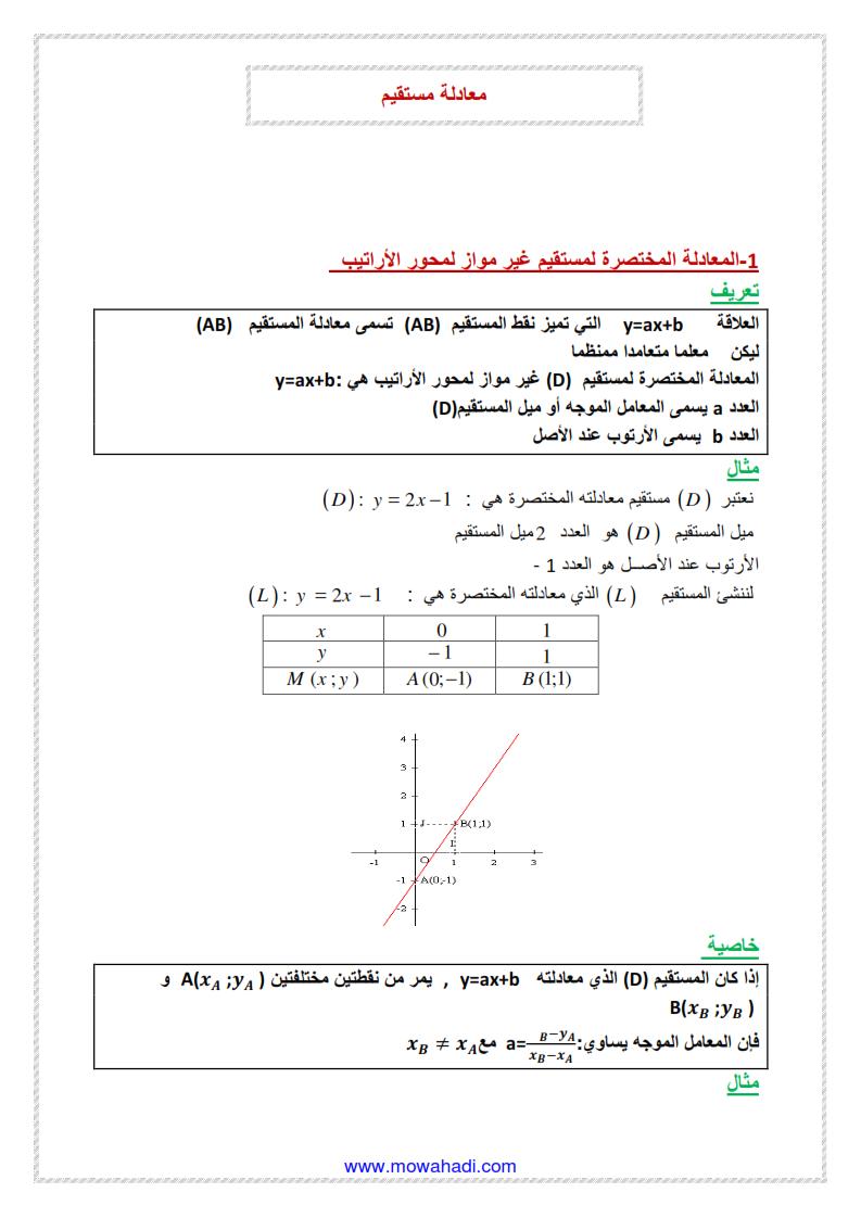 معادلة مستقيم