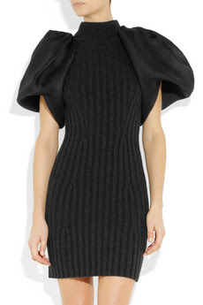 Ribbed wool-blend and silk-gazar dress