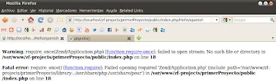 Imagen de un ejemplo de errores de php en Apache 2.2.14