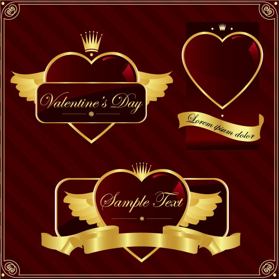 金色のハート型ラベル golden heartshaped label イラスト素材