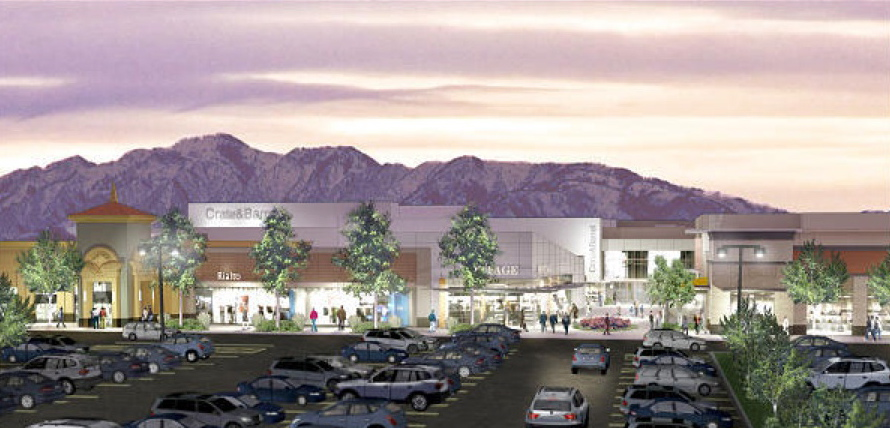 rendering of new additions to FASHION PLACE MALL. On the right