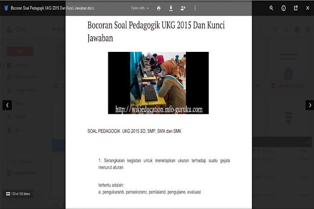 Download File Bocoran Soal UKG SD,SMP,SMA dan SMK 2015.Docs