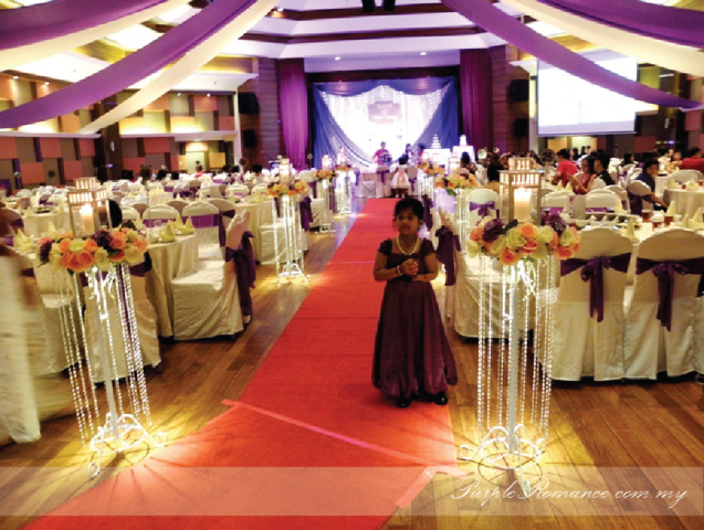 reception table decoration, Walkway with flower stands, metal lantern, crystal, hanging, beads, spotlights, walkway, aisle, red carpet, purple & white theme, hydrangea, roses, petals, candles, registration, package, malaysia, kuala lumpur, selangor