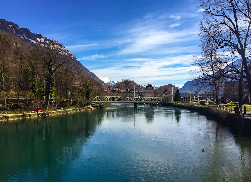 Scenery of the river and mountains in interlaken switzerland