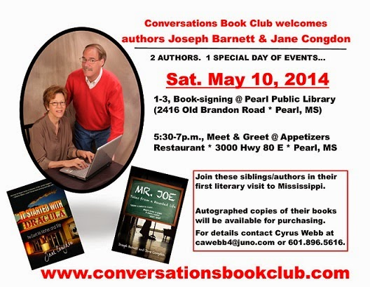 (Sat. May 10th) Conversations welcomes authors Joseph Barnett & Jane Congdon