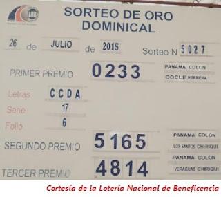 Sorteo-Domingo-26 de-Julio-de-2015-Tablero-Loteria-Nacional-de-Panama