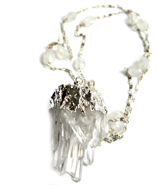 crystal and moonstone statement necklace- catherine masi