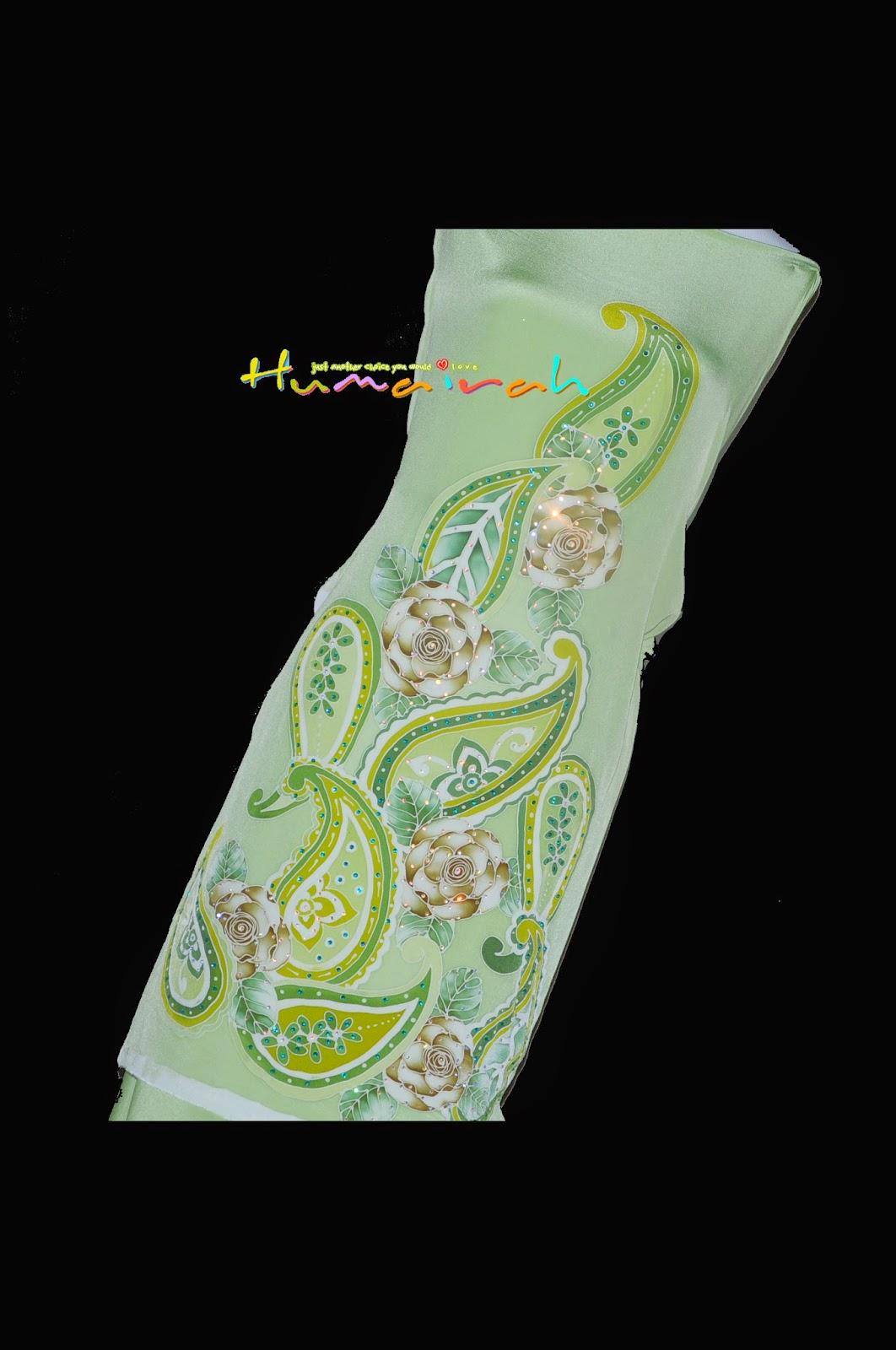 CX82 Batik Sutera Exclusive - Green Paisley Siap Batu Handmade 6